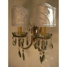 Crystal Wall Sconces by Italian Antique Silver Bronze And Smokey Crystal Wall Sconces With
