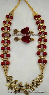 necklace jewelry patterns images Lukn gud color maroon jewellery pinterest silk thread jpg