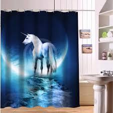 custom polyester waterproof fabric bath curtains unicorn horse