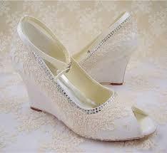 wedding shoes wedges lace wedding shoes peep toe bridal shoes rhinestone wedge shoes