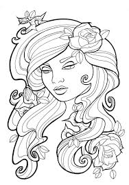 tattoo coloring pages women face coloringstar