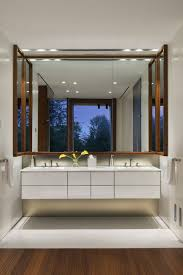 Shaped Bathroom Mirrors by Furniture Bathroom Modern U Shaped Brown Wooden Frame Wall Mirror
