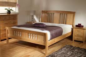 Oak Sleigh Bed Sleigh Bed Frame Beautifully Curved Footboard And Queen Headboard