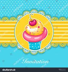 Cherry Cupcake Invitation Card Royalty Vector Frame Design Cute Cupcake Invitation Stock Vector 188266439