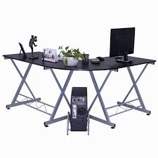 l shape computer desk pc wood laptop table workstation corner home