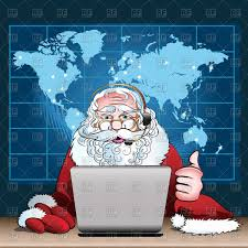 santa map santa claus on duty santa with laptop in office with map