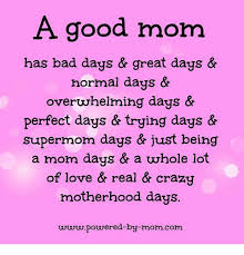 Crazy Mom Meme - a good mom has bad days great days normal days overwhelming