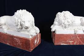 marble lions pair of reclining carrara marble lions on jasper marble plinths