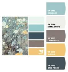 the paint color is aquatint made by hgtv home at sherwin williams