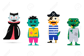 halloween cute kids in costum clipart collection