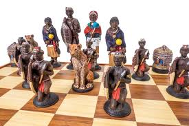 buy zulu vs ndebele tribal chess set complete set with board at
