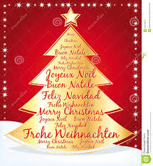 beautiful christmas tree with greetings in several languages