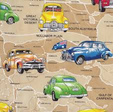 Map Fabric Old Holden Cars On Tan Australian Map Cotton Quilting Fabric 1 2