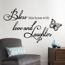 online get cheap bless home wall decals quotes aliexpress fashion diy wall sticker quotes decals bless home with love and laughter saying quote butterfly