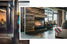 downtown loft warms up barn wood birch and steel fireplace reface