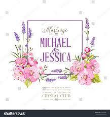 wedding invitation blossom cherry bridal shower stock vector