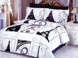 bedroom design gorgeous paris themed bedroom for teenage nice paris theme bedding in white black matched with white tile floor and white wooden nightstand