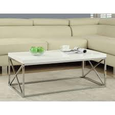 monarch specialties gloss white and chrome coffee table i 3028