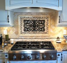 Kitchen Tile Backsplash Murals by Luxurious Metal Backsplash Murals Combined With Silver Gas Stoves
