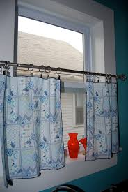 Lace Cafe Curtains Kitchen by Blue Fabric Indoor Curtain Window Stainless Steel Hanging Amazing