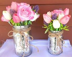 jar flowers silver jars with twine fresh flowers tablescapes