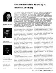 Advertising Research Paper New Media Interactive Advertising Vs Traditional Advertising Pdf