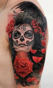 sugar skull pin up on shoulder