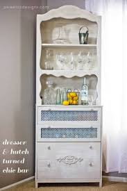 ugly old dresser u0026 hutch turned chic liquor cabinet u0026 bar