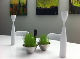 Modern Table Centerpieces Dining Table Interior Real Plants And Grass With Sand On Paneled Dining Table