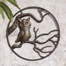 owl garden wall art hanging decor metal hoot owl bird indoor
