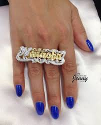 name plated earrings silver or gold plated two finger name ring 3 d plate custom