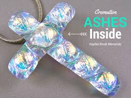 cremation ashes cremation ashes cross memorial pendant sea glass green dichroic