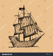 pirate ship old pirate galleon sails stock vector 457967722
