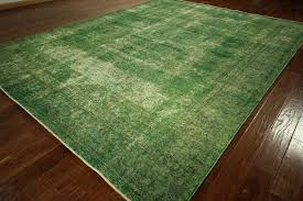 10 X 12 Area Rugs Green Cast Overdyed Rug 10x12 Wool Knotted