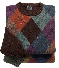 tweed argyle crewneck lambswool sweater clothes for my man