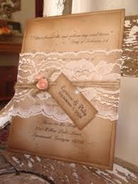 coral rustic lace vintage woodland kraft wedding invitation