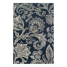 shop allen roth rectangular blue floral woven chenille area rug
