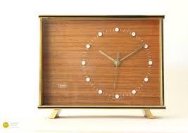mid century diehl desk clock junghans modern brass teak
