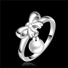 sterling silver wedding gifts 2018 beautiful design 925 sterling silver finger ring bow pearl