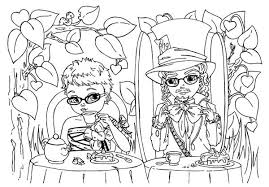 picture mad hatter alice tea party coloring