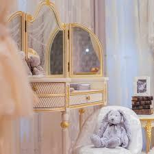 European Style European Style Kids Princess Dressing Table Antique Wooden Ivory