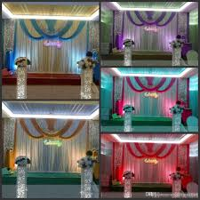 Traditional Marriage Decorations 20ft 10ft Luxury Ice Silk Wedding Backdrop Stage Curtains With