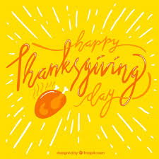 yellow background with thanksgiving lettering vector free