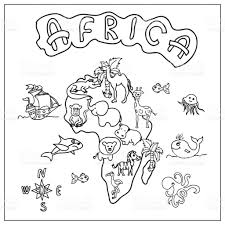 africa continent kids map coloring page stock vector art 825469128