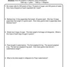 measurement milligram gram kilogram worksheet 1