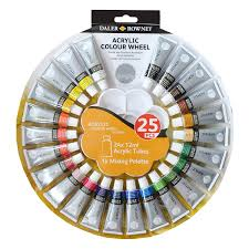 daler rowney simply acrylic colour wheel paint set of 24 tubes of