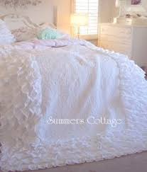 Shabby Chic Bed Skirts by Shabby Dreamy White Ruffles Full Bed Ruffled Bedskirt Beach