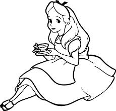 alice drink tea coloring wecoloringpage