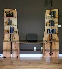 custom made rustic live edge oak slab bookcase built in desk by