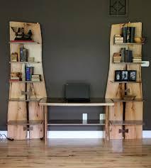 Built In Desk by Custom Made Rustic Live Edge Oak Slab Bookcase Built In Desk By